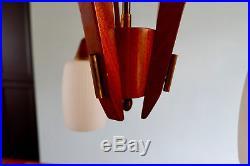 Retro Vintage Mid Century Teak Glass 3 Arm Ceiling Light