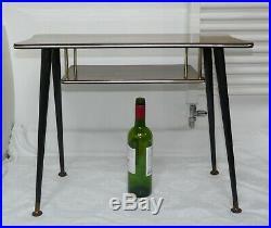 Retro Vintage Mid-Century Teak Top Coffee Table with Shelf & Dansette Legs 1960s