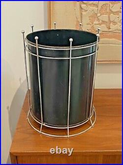 Richard Galef Vtg Mid Century Modern Metal Wastebasket Bin Trash Can Ravenware
