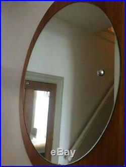 Round Vintage Teak Wall Mirror Retro Mid Century 1960s 1970s Circular 50cm m138