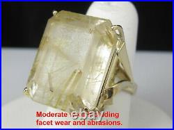 Rutilated Quartz Ring 14K Yellow Gold Vintage Estate Retro Mid Century Rutile