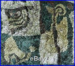 SALE Vintage PAIR 1960's retro wall tapestry rug carpet, Mid Century, green