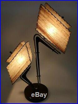 STUNNING Vtg RETRO 50s ATOMIC Mcm MAJESTIC Era TABLE Z LAMP withAsymmetric SHADES