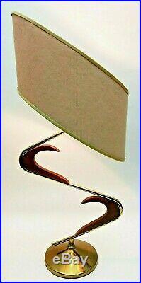 SUPERB Vtg 50s Retro ATOMIC Mcm Z Majestic Boomerang Table LAMP Fiberglass SHADE
