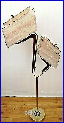 SUPERB Vtg RETRO 1950s ATOMIC Mcm MAJESTIC Era Floor Z LAMP withAsymmetric SHADES