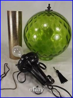 SWAG LAMP rare green glass hanging vintage Mid Century RETRO MCM ceiling 1970's