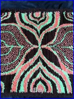 Scandinavian Rya Rug Danish Wool 1960s Modern Mid Century Vintage Retro Pop Art
