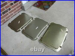 Set 3 Vintage Crestline Metal TV Trays Tole Painted Roses Wheeled Stand GUC