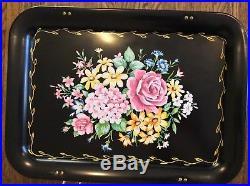 Set 4 Vintage TV Tray Tables Metal Mid-Century Floral NOS Excellent 1950s Retro