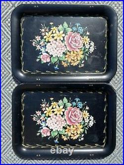 Set Of 4 Vintage Metal Black Floral Tole Roses Folding TV Tray Tables Retro 60s