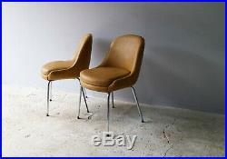 Set of 4 1960s English mid century vinyl chairs