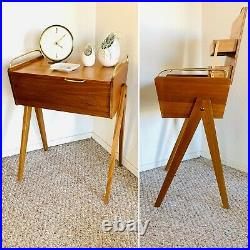 Sewing Basket Sewing Box Wooden Mid Century Knitting Storage Vintage Retro