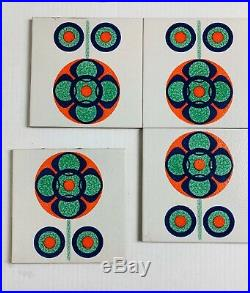 Six (6) Vintage Mid Century Modern Italian 6x6 Inch Ceramic Tile Orange