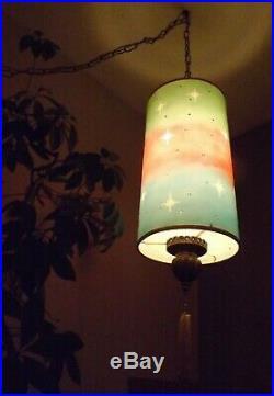 Starburst Swag Lamp Mid Century Hollywood Regency Red Green Blue Retro Vtg MCM