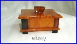 Stunning Art Deco Swirly Butterscotch Amber Color Bakelite Box