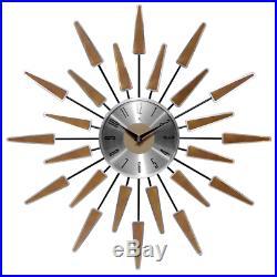 Sunburst Clock Mid Century Modern Wall Decor Vintage Starburst Retro Metal Art