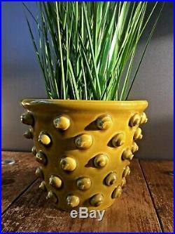 Superb Retro 60s MID Century Italian Pottery Knobbly Amber Plant Pot Vintage 70s