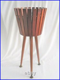 Superb Vintage Teak Slatted Plant Pot Stand by Gladlyn Ware retro mid-century