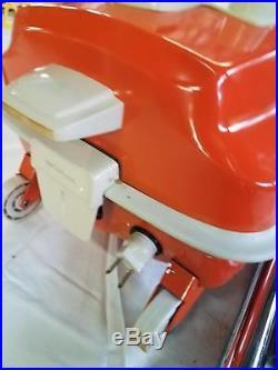 Sweet RETRO Vtg MCM Mid Century Orange Canister Vacuum Eureka 1630 In Orig Box
