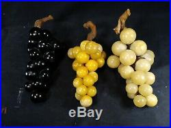 THREE Vintage Mid-Century Large Alabaster Grapes Clusters Stone FruitFREE SHIP