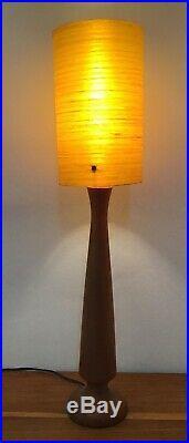 Tall Vintage Mid Century Teak Table Lamp with Fibreglass Shade