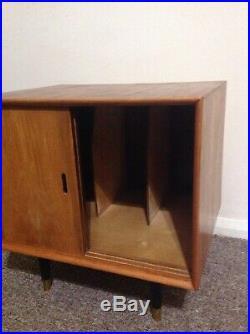 Teak record cabinet Atomic Mid Century Vintage Retro Walnut Tapered Legs