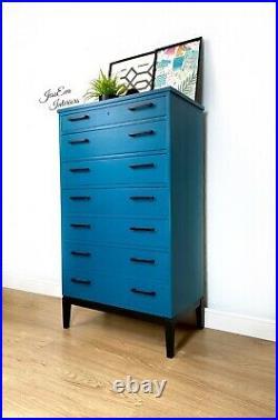 Teal Blue Retro Mid Century Modern Vintage Danish Chest Of Drawers / Tallboy