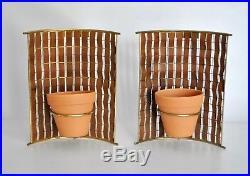 Tony Paul Vtg Mid Century Modern Brass Wood Interlace Wall Planter Sconce Retro