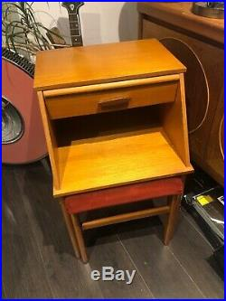 Unusual Retro CHIPPY Telephone Table Vintage Teak Hall Seat Bench Mid Century