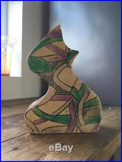 Unusual Vintage Signed Pottery Retro Vase Abstract MID Century Picasso Cubist