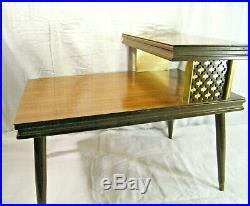 VINTAGE 1960's MID CENTURY DANISH MODERN 2 TIER GOLD NIGHT STAND TABLE RETRO MCM