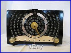 VINTAGE EMERSON MID CENTURY ATOMIC RETRO ANTIQUE BLACK EBONEY BAKELITE RADIO