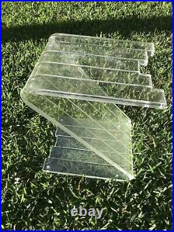 VINTAGE MID CENTURY LUCITE Z-SHAPED SIDE TABLE Acrylic