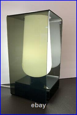 VINTAGE MID CENTURY MODERN ATOMIC RETRO Smoked LUCITE White Globe TABLE Lamp