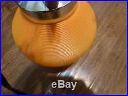 VINTAGE Mid Century MOD TRIPOD BEEHIVE TAPERED LAMP ORANGE Atomic retro