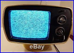 VINTAGE PHILCO TV FORD WHITE MID CENTURY MODERN RETRO 1970s TABLE TOP TV WORKS
