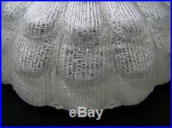 VINTAGE RETRO 60's PHILIPS ICE GLASS LARGE FLUSH MOUNT CEILING LIGHT MID CENTURY