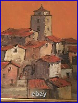 VINTAGE RETRO 60s MID CENTURY OIL PAINTING ON BOARD TOWNSCAPE WARM COLOURS