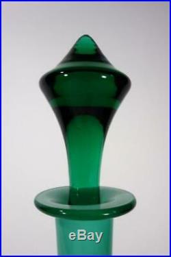 VINTAGE RETRO EMPOLI ITALIAN ART GLASS GENIE BOTTLE CASED GREEN mid century