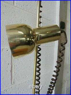 VINTAGE RETRO MID CENTURY BROWN BRASS TWIN SPOT LIGHT FLOOR LAMP postage £11.99