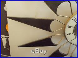 VINTAGE Retro ELGIN Mid-Century 28 Sunburst Starburst Clock WORKS FREE SHIPPING