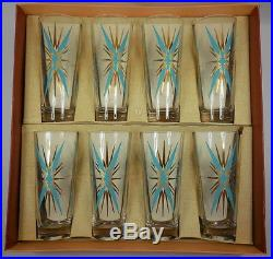 VINTAGE SET OF FEDERAL GLASS DRINKING GLASSES STARBURST MID CENTURY RETRO