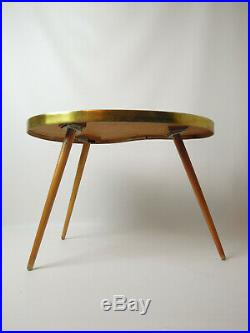 VINTAGE STRIPED SIDE TABLE DANISH MID CENTURY MODERN RETRO PLANT STAND 50s 60s