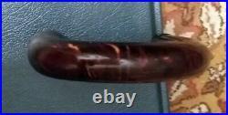 VINTAGE VEINED RED AMBER BAKELITE UMBRELLA WALKING STICK HANDLE 150 grams