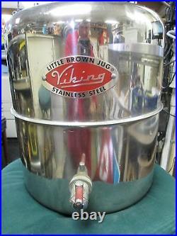 VINTAGE Viking Brown Little Jug 1 Gal Stainless Steel Water Container Jug