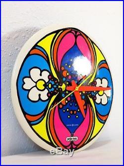 VTG 1969 PETER MAX 8504 Daisy Reflection WALL CLOCK Retro POP ART Mid Century