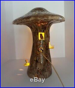 VTG Arnel's Mushroom Lamp Woodland RARE Sculpture Ceramic Animals Mid Century
