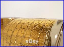 VTG Mid Century GOLD SNAKESKIN LOWBALL DRINKING BAR GLASS SET Glam Retro CULVER