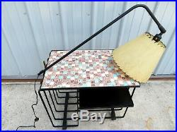 VTG Mid Century MODERNIST WROUGHT IRON & TILE MOSAIC TABLE With LAMP French RETRO