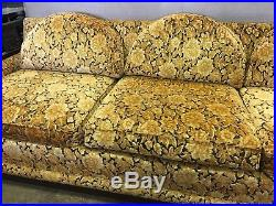 VTG Mid Century SET Sofa By Rowe Couch 2 Chairs MCM RETRO YELLOW Floral Pattern